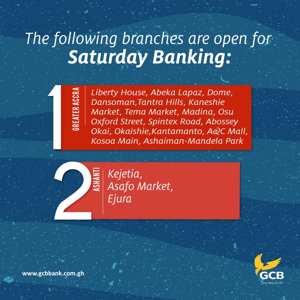 GCB Saturday banking hours